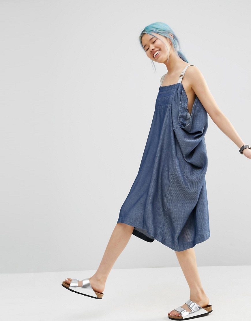 Denim Pleat Detail Dress With Herringbone Straps Blue/White - style: a-line; length: below the knee; sleeve style: spaghetti straps; fit: loose; pattern: plain; predominant colour: denim; occasions: casual; fibres: cotton - mix; sleeve length: sleeveless; texture group: denim; neckline: low square neck; pattern type: fabric; season: s/s 2016; wardrobe: basic