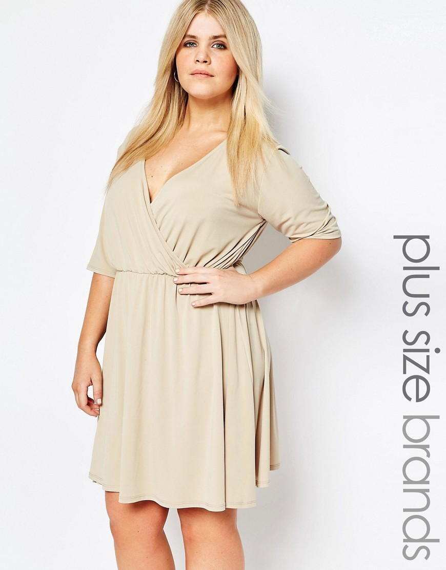 Wrap Dress Beige - style: faux wrap/wrap; neckline: low v-neck; pattern: plain; predominant colour: stone; occasions: evening; length: on the knee; fit: body skimming; fibres: polyester/polyamide - stretch; sleeve length: half sleeve; sleeve style: standard; pattern type: fabric; texture group: jersey - stretchy/drapey; season: s/s 2016; wardrobe: event