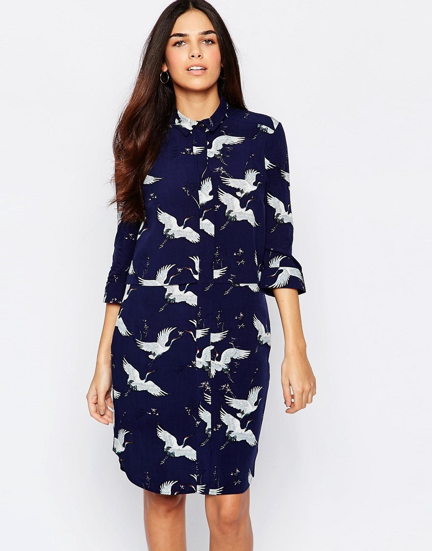 Bird Print Shirt Dress Blue Pattern - style: shirt; neckline: shirt collar/peter pan/zip with opening; secondary colour: white; predominant colour: navy; occasions: casual, creative work; length: just above the knee; fit: body skimming; fibres: viscose/rayon - 100%; sleeve length: long sleeve; sleeve style: standard; pattern type: fabric; pattern size: standard; pattern: patterned/print; texture group: other - light to midweight; season: s/s 2016; wardrobe: highlight