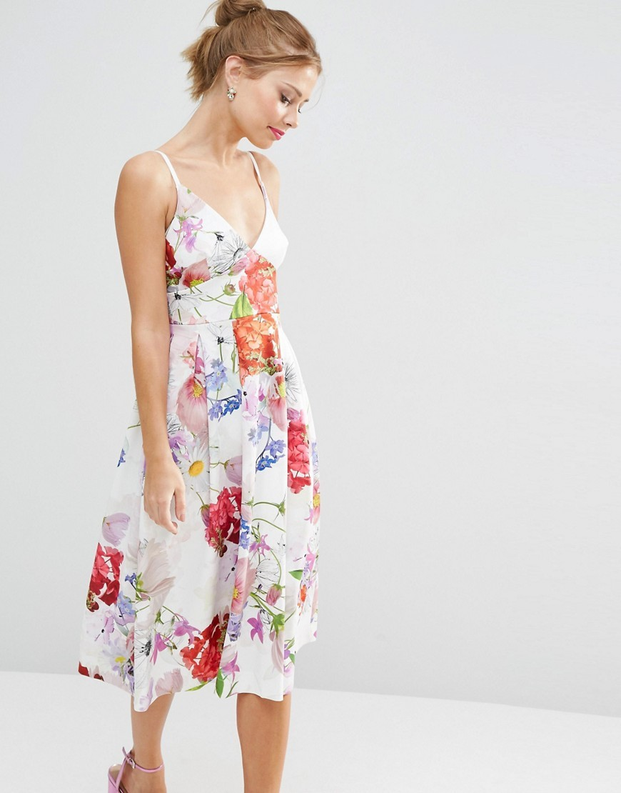 Salon High Apex Premium Bonded Scuba Midi Prom Dress Floral Print - length: below the knee; neckline: v-neck; sleeve style: spaghetti straps; style: sundress; predominant colour: white; secondary colour: true red; fit: fitted at waist & bust; fibres: polyester/polyamide - stretch; occasions: occasion; sleeve length: sleeveless; pattern type: fabric; pattern: florals; texture group: jersey - stretchy/drapey; multicoloured: multicoloured; season: s/s 2016; wardrobe: event