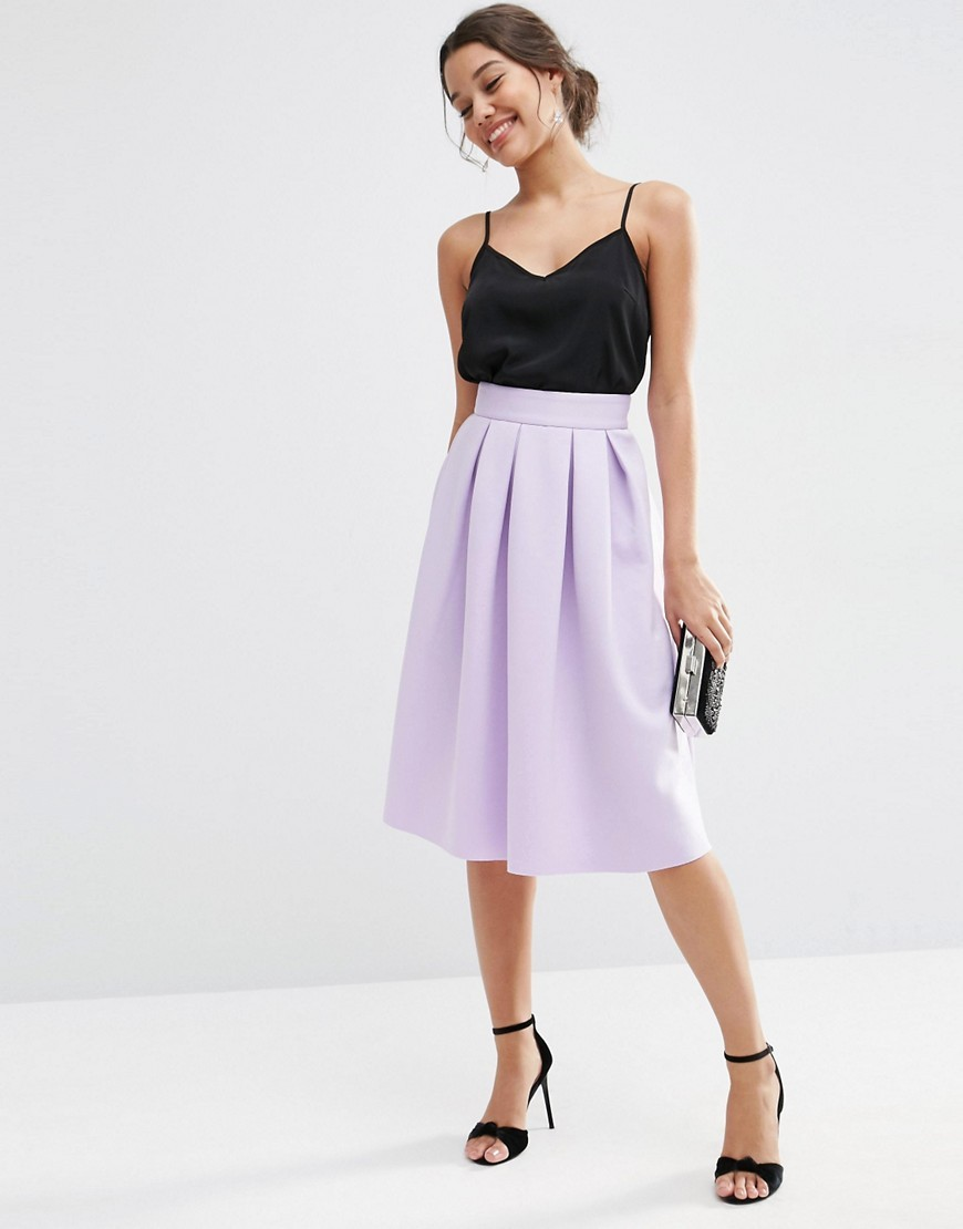 Midi Prom Skirt In Scuba Lilac - length: below the knee; pattern: plain; style: full/prom skirt; fit: loose/voluminous; waist: low rise; predominant colour: lilac; fibres: polyester/polyamide - stretch; occasions: occasion, creative work; hip detail: soft pleats at hip/draping at hip/flared at hip; pattern type: fabric; texture group: other - light to midweight; season: s/s 2016; wardrobe: highlight