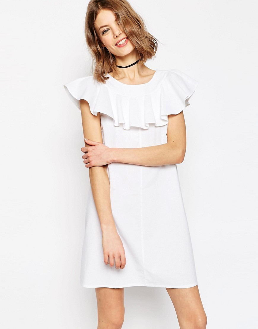 Shift Dress With Frill Neck Detail White - style: shift; length: mid thigh; pattern: plain; predominant colour: white; occasions: casual; fit: body skimming; fibres: cotton - 100%; neckline: crew; sleeve length: short sleeve; sleeve style: standard; bust detail: bulky details at bust; pattern type: fabric; texture group: woven light midweight; season: s/s 2016; wardrobe: highlight