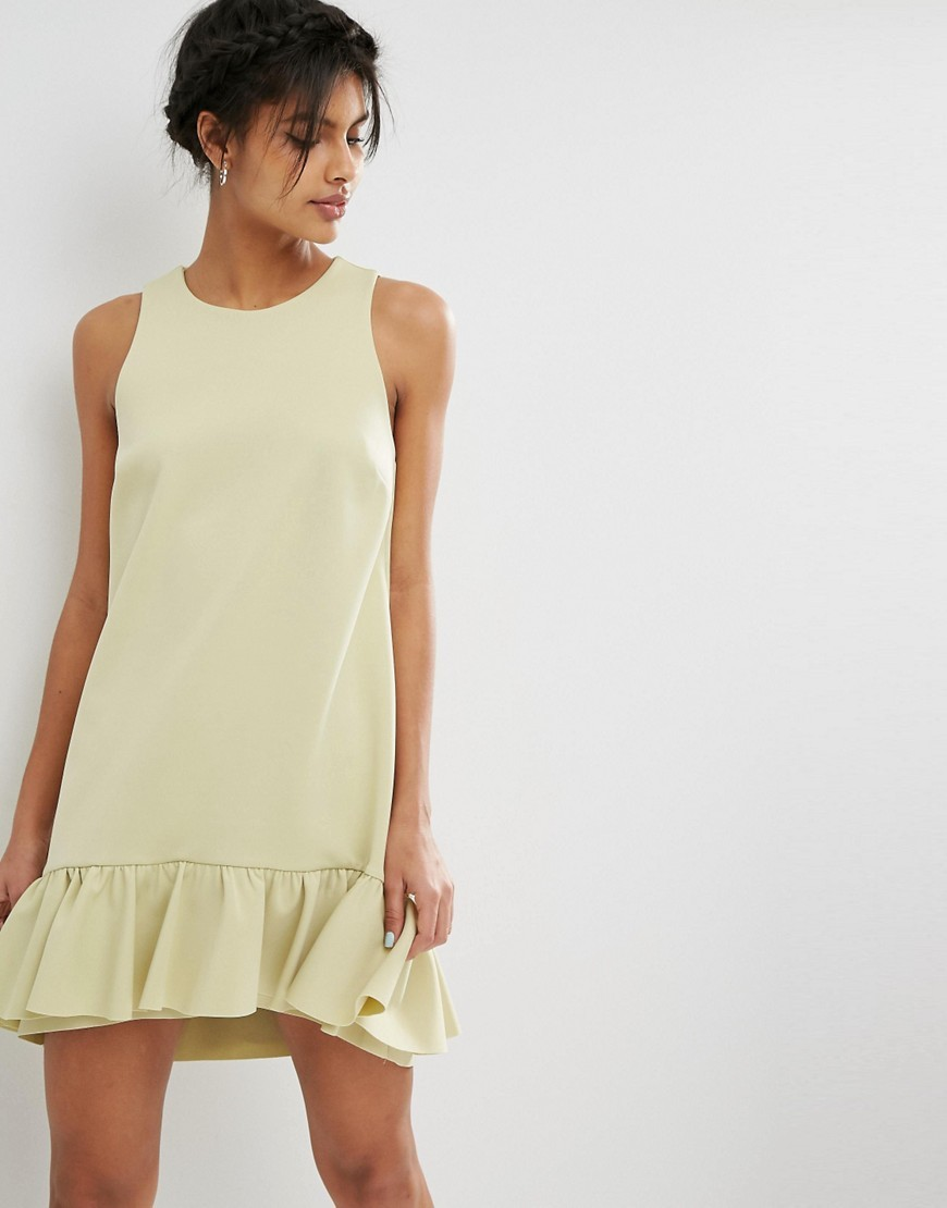 Scuba Ruffle Pephem Mini Dress Sage - style: shift; length: mid thigh; pattern: plain; sleeve style: sleeveless; predominant colour: primrose yellow; occasions: evening; fit: soft a-line; fibres: polyester/polyamide - stretch; neckline: crew; sleeve length: sleeveless; pattern type: fabric; texture group: jersey - stretchy/drapey; season: s/s 2016; wardrobe: event