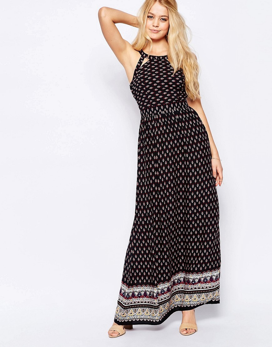 High Neck Printed Maxi Dress With Lace Up Back Blk/Rust Paisley - fit: fitted at waist; sleeve style: sleeveless; style: maxi dress; length: ankle length; predominant colour: black; occasions: casual; fibres: viscose/rayon - 100%; neckline: crew; sleeve length: sleeveless; pattern type: fabric; pattern size: standard; pattern: patterned/print; texture group: other - light to midweight; season: s/s 2016; wardrobe: highlight
