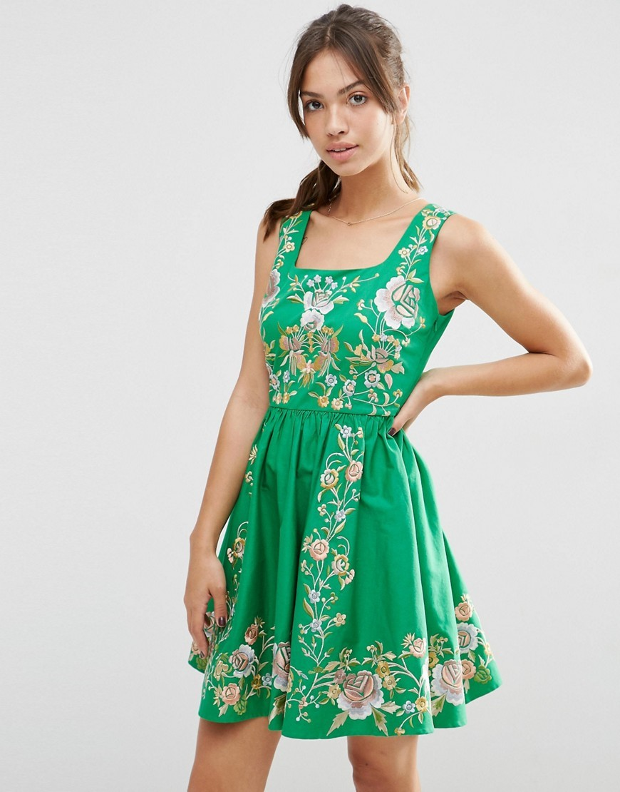 Premium Embroidered Prom Dress Green - length: mid thigh; sleeve style: sleeveless; secondary colour: ivory/cream; predominant colour: emerald green; occasions: casual, evening; fit: fitted at waist & bust; style: fit & flare; fibres: cotton - stretch; sleeve length: sleeveless; neckline: medium square neck; pattern type: fabric; pattern: florals; texture group: other - light to midweight; multicoloured: multicoloured; season: s/s 2016; wardrobe: highlight