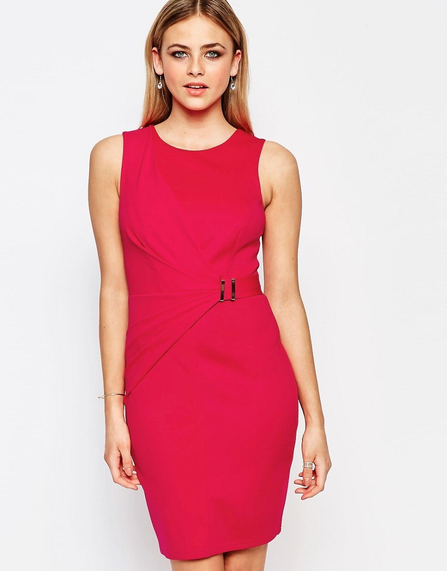 Belted Drape Wrap Dress Fuscia Pink - style: shift; pattern: plain; sleeve style: sleeveless; predominant colour: hot pink; occasions: evening; length: just above the knee; fit: body skimming; fibres: polyester/polyamide - 100%; neckline: crew; sleeve length: sleeveless; texture group: jersey - clingy; pattern type: fabric; season: s/s 2016; wardrobe: event