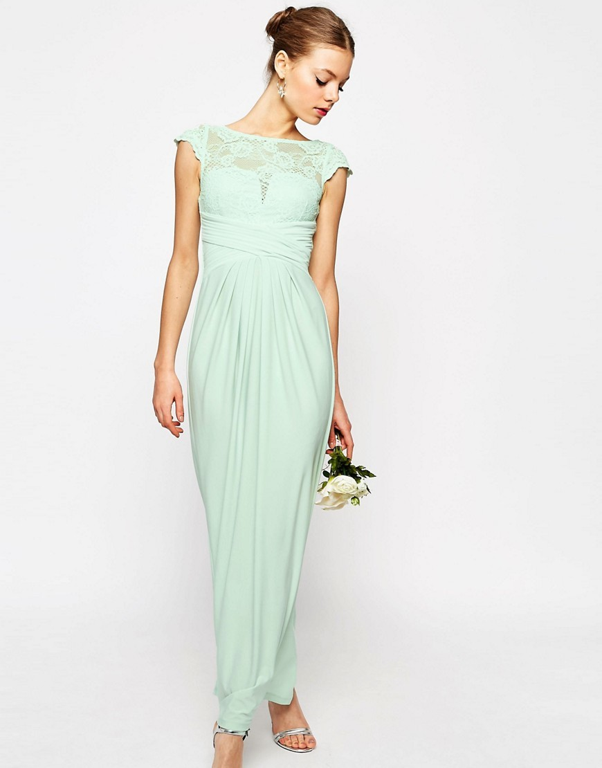 Wedding Lace Top Pleated Maxi Dress Mint - sleeve style: capped; style: maxi dress; neckline: high neck; length: ankle length; bust detail: subtle bust detail; predominant colour: pistachio; fit: fitted at waist & bust; fibres: polyester/polyamide - stretch; occasions: occasion; hip detail: subtle/flattering hip detail; sleeve length: short sleeve; texture group: lace; pattern type: fabric; pattern size: standard; pattern: patterned/print; embellishment: lace; shoulder detail: sheer at shoulder; season: s/s 2016; wardrobe: event; embellishment location: shoulder