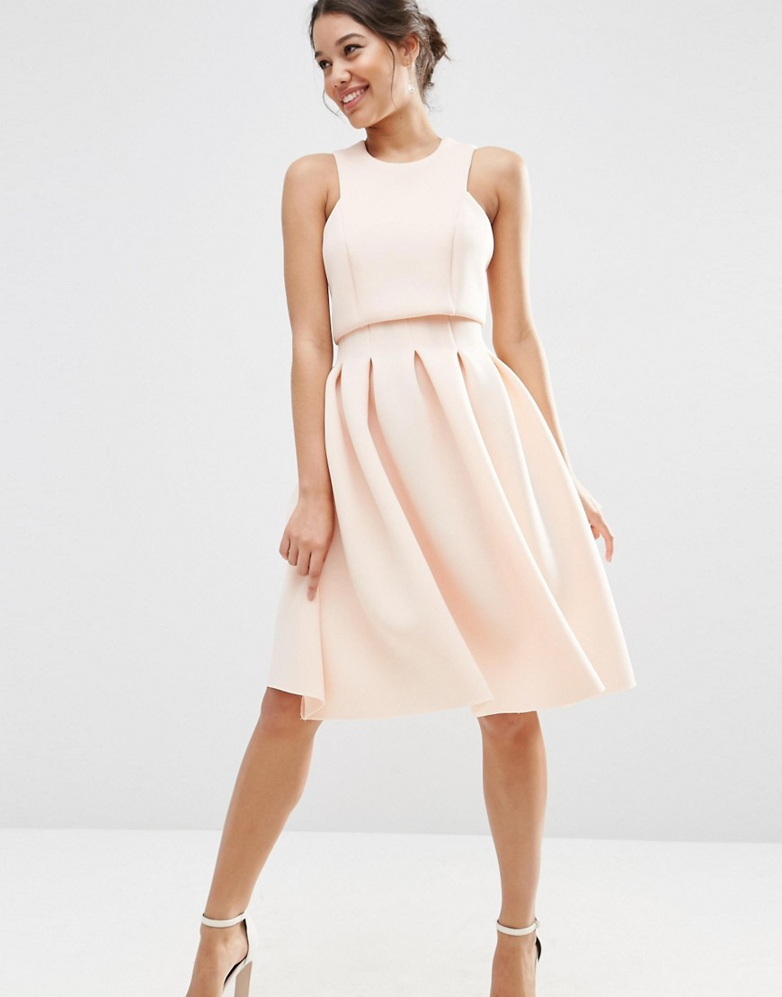 Crop Top Midi Scuba Dress Nude - length: below the knee; fit: fitted at waist; pattern: plain; sleeve style: sleeveless; style: full skirt; predominant colour: nude; fibres: polyester/polyamide - stretch; occasions: occasion; neckline: crew; hip detail: adds bulk at the hips; sleeve length: sleeveless; pattern type: fabric; texture group: other - light to midweight; season: s/s 2016; wardrobe: event