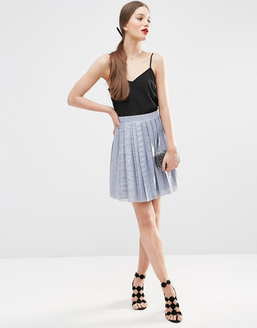 Pleated Lace Mini Skirt Ice Blue - length: mid thigh; style: full/prom skirt; fit: loose/voluminous; waist: high rise; predominant colour: pale blue; occasions: evening, occasion; fibres: polyester/polyamide - 100%; hip detail: structured pleats at hip; texture group: lace; pattern type: fabric; pattern: patterned/print; pattern size: light/subtle (bottom); season: s/s 2016