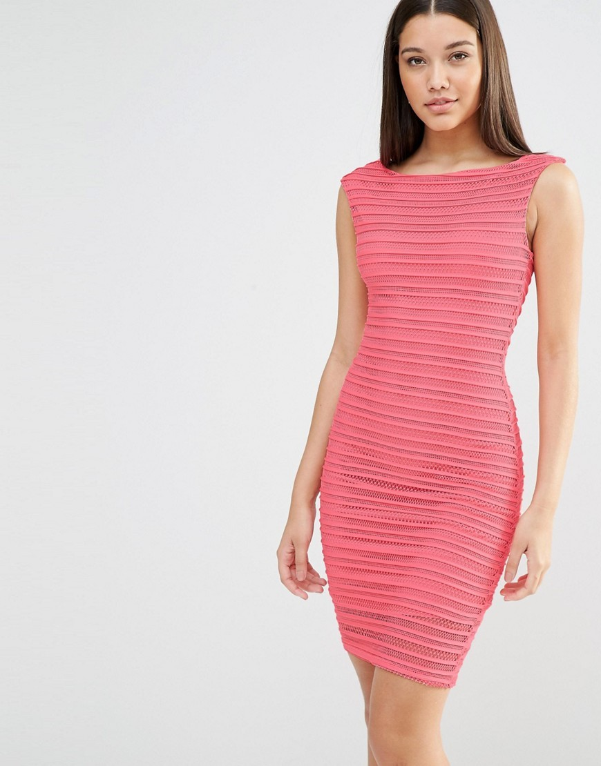 Ripple Bodycon Midi Dress Red - style: shift; length: mid thigh; neckline: slash/boat neckline; fit: tight; pattern: plain; sleeve style: sleeveless; hip detail: draws attention to hips; predominant colour: pink; occasions: evening; fibres: polyester/polyamide - stretch; sleeve length: sleeveless; pattern type: fabric; texture group: jersey - stretchy/drapey; season: s/s 2016; wardrobe: event