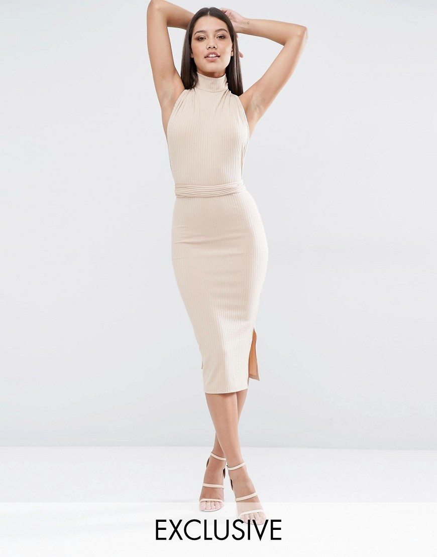 Multiway Rib Midi Dress Camel - length: below the knee; fit: tight; pattern: plain; sleeve style: sleeveless; neckline: high neck; style: bodycon; predominant colour: ivory/cream; occasions: evening, occasion; fibres: polyester/polyamide - stretch; sleeve length: sleeveless; texture group: knits/crochet; pattern type: knitted - fine stitch; season: s/s 2016; wardrobe: event