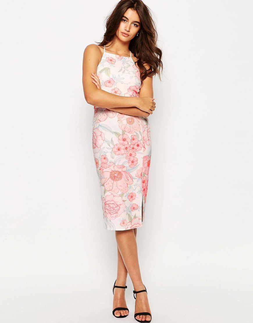 Occasion High Neck Pencil Dress In Pretty Floral Print Multi - style: shift; length: below the knee; neckline: round neck; sleeve style: sleeveless; predominant colour: white; secondary colour: pink; fit: body skimming; fibres: polyester/polyamide - stretch; occasions: occasion; sleeve length: sleeveless; pattern type: fabric; pattern size: standard; pattern: florals; texture group: woven light midweight; season: s/s 2016; wardrobe: event