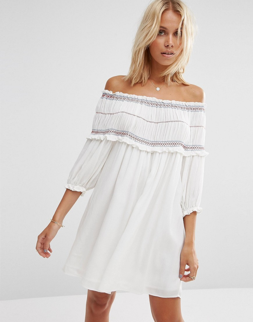 Off Shoulder Sundress With Coloured Shirring White - style: tunic; neckline: off the shoulder; fit: loose; pattern: plain; predominant colour: white; occasions: casual; length: just above the knee; fibres: viscose/rayon - 100%; sleeve length: 3/4 length; sleeve style: standard; pattern type: fabric; embellishment: lace; texture group: broiderie anglais; season: s/s 2016; wardrobe: highlight