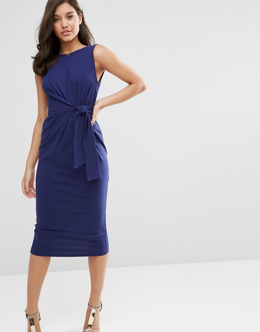 Tie Side Midi Bodycon Dress Navy - length: below the knee; fit: tight; pattern: plain; sleeve style: sleeveless; style: bodycon; waist detail: twist front waist detail/nipped in at waist on one side/soft pleats/draping/ruching/gathering waist detail; predominant colour: navy; occasions: evening; fibres: polyester/polyamide - stretch; neckline: crew; sleeve length: sleeveless; pattern type: fabric; texture group: jersey - stretchy/drapey; season: s/s 2016