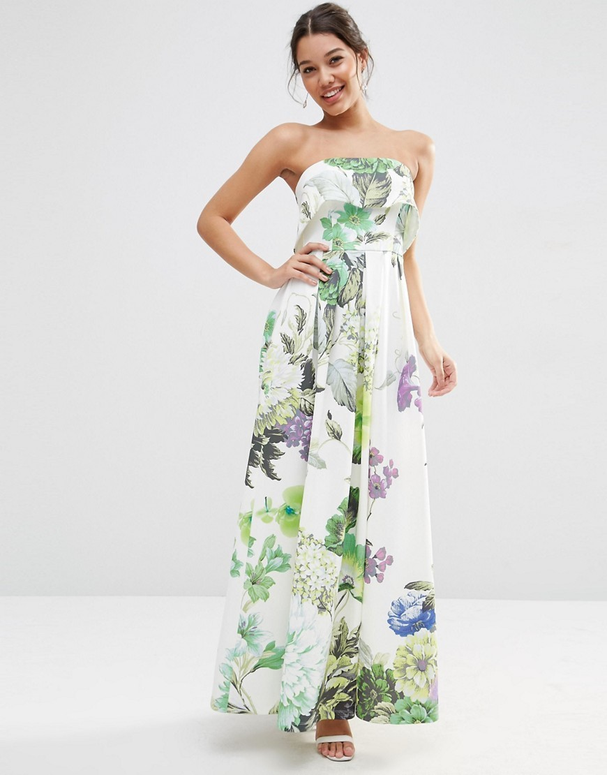 Crop Top Scuba Floral Bandeau Maxi Dress Floral Print - neckline: strapless (straight/sweetheart); fit: empire; style: maxi dress; sleeve style: strapless; length: ankle length; predominant colour: white; secondary colour: emerald green; fibres: polyester/polyamide - stretch; occasions: occasion; sleeve length: sleeveless; texture group: crepes; pattern type: fabric; pattern size: standard; pattern: florals; season: s/s 2016