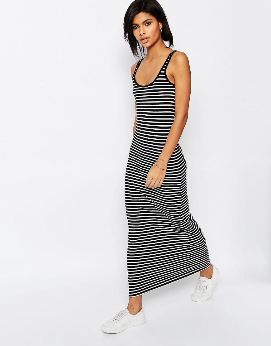 Jersey Stripe Maxi Dress Black & White - sleeve style: standard vest straps/shoulder straps; pattern: horizontal stripes; style: maxi dress; length: ankle length; secondary colour: white; predominant colour: black; occasions: casual; fit: body skimming; neckline: scoop; fibres: cotton - stretch; sleeve length: sleeveless; texture group: jersey - clingy; pattern type: fabric; season: s/s 2016; wardrobe: basic
