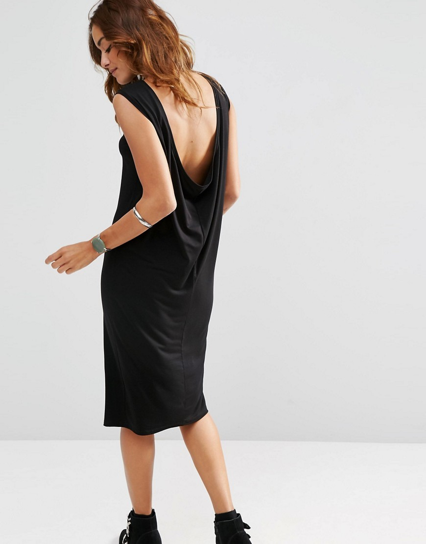 Sleeveless Midi Dress With Cowl Back Black - style: shift; length: below the knee; neckline: slash/boat neckline; pattern: plain; sleeve style: sleeveless; back detail: cowl/draping/scoop at back; predominant colour: black; occasions: evening; fit: body skimming; fibres: viscose/rayon - stretch; sleeve length: sleeveless; pattern type: fabric; texture group: jersey - stretchy/drapey; season: s/s 2016