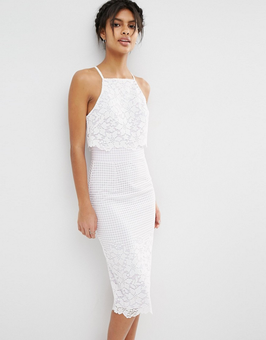 Floral Grid Lace Crop Top Pencil Midi Dress White - style: shift; length: below the knee; fit: tailored/fitted; sleeve style: sleeveless; bust detail: subtle bust detail; predominant colour: ivory/cream; occasions: evening; fibres: polyester/polyamide - 100%; sleeve length: sleeveless; texture group: lace; neckline: medium square neck; pattern type: fabric; pattern size: standard; pattern: patterned/print; embellishment: lace; season: s/s 2016; wardrobe: event; embellishment location: pattern