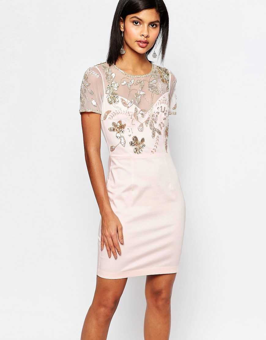 Horizon Lights Embellished Dress Jasmine Pink - fit: tight; style: bodycon; bust detail: sheer at bust; predominant colour: blush; occasions: evening; length: just above the knee; fibres: cotton - stretch; neckline: crew; sleeve length: short sleeve; sleeve style: standard; texture group: lace; pattern type: fabric; pattern size: light/subtle; pattern: patterned/print; embellishment: beading; season: s/s 2016; wardrobe: event
