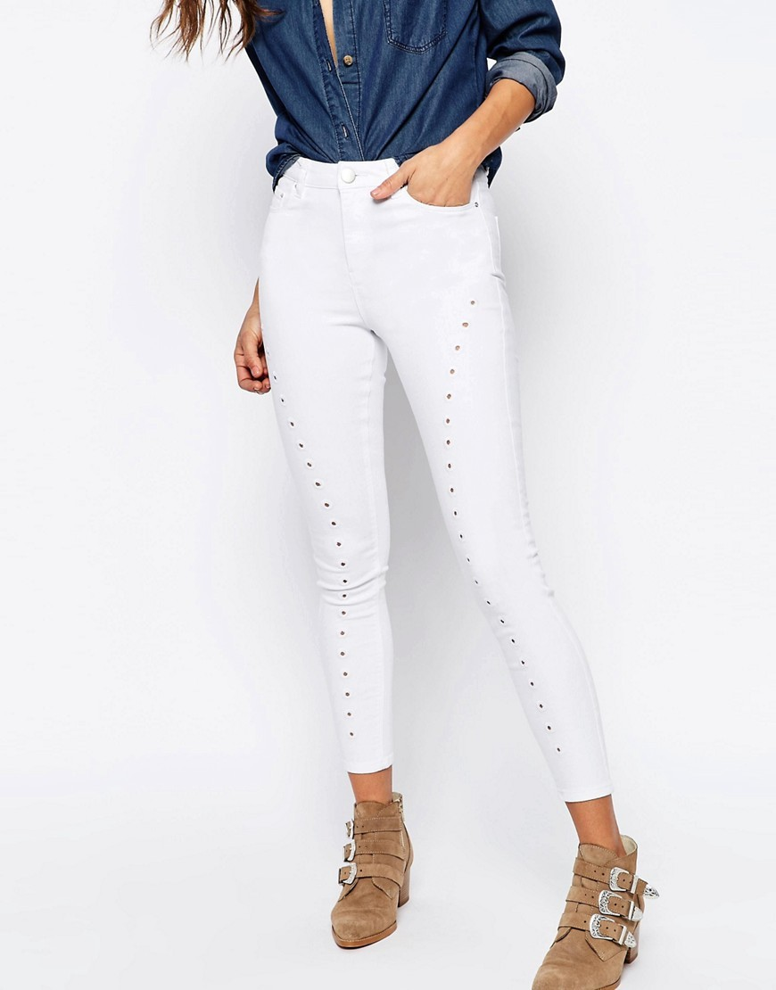 Ridley Skinny Jeans In White With Cutwork Detail Optic White - style: skinny leg; length: standard; pattern: plain; waist: high rise; predominant colour: white; occasions: casual; fibres: cotton - stretch; texture group: jersey - clingy; pattern type: fabric; season: s/s 2016
