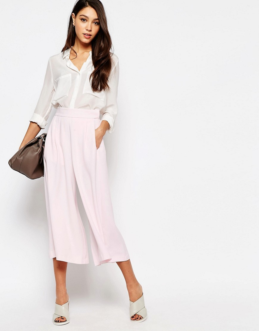 Culottes In Arrow Crepe Jasmine Pink - pattern: plain; waist: high rise; predominant colour: blush; length: calf length; fibres: polyester/polyamide - 100%; occasions: occasion; texture group: crepes; fit: wide leg; pattern type: fabric; style: standard; season: s/s 2016; wardrobe: event