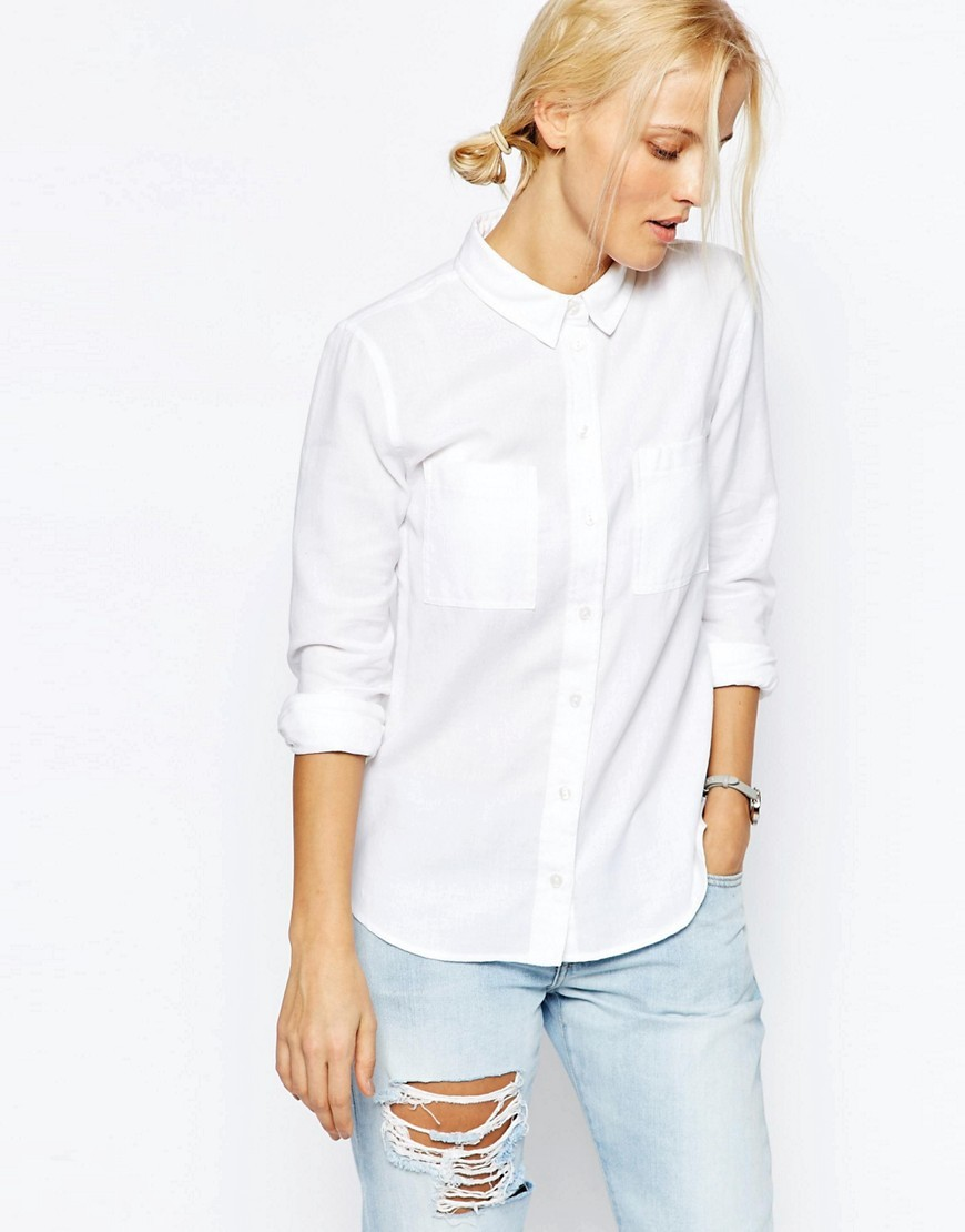 Fitted Shirt In Twill White - neckline: shirt collar/peter pan/zip with opening; pattern: plain; style: shirt; bust detail: pocket detail at bust; predominant colour: white; occasions: casual, creative work; length: standard; fibres: cotton - 100%; fit: straight cut; sleeve length: 3/4 length; sleeve style: standard; texture group: cotton feel fabrics; pattern type: fabric; season: s/s 2016; wardrobe: basic