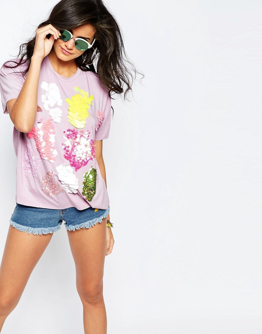 T Shirt With Scatter Sequins Lilac - style: t-shirt; predominant colour: lilac; secondary colour: yellow; occasions: casual; length: standard; fibres: cotton - stretch; fit: loose; neckline: crew; sleeve length: short sleeve; sleeve style: standard; pattern type: fabric; pattern size: standard; pattern: patterned/print; texture group: jersey - stretchy/drapey; embellishment: sequins; multicoloured: multicoloured; season: s/s 2016