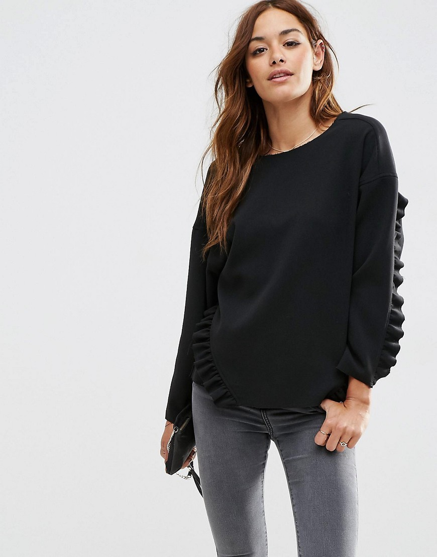 Oversize Top With Ruffle Detail & Raw Edge Black - neckline: round neck; pattern: plain; style: sweat top; predominant colour: black; occasions: casual, creative work; length: standard; fibres: cotton - stretch; fit: loose; sleeve length: long sleeve; sleeve style: standard; pattern type: fabric; texture group: jersey - stretchy/drapey; season: s/s 2016; wardrobe: basic