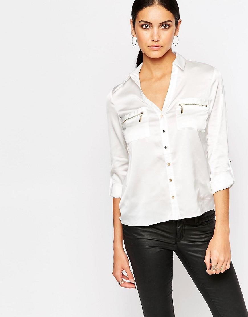 Zip Pocket Shirt White - neckline: shirt collar/peter pan/zip with opening; pattern: plain; style: shirt; predominant colour: white; occasions: casual, creative work; length: standard; fibres: polyester/polyamide - 100%; fit: straight cut; sleeve length: 3/4 length; sleeve style: standard; texture group: silky - light; bust detail: bulky details at bust; pattern type: fabric; season: s/s 2016; wardrobe: highlight