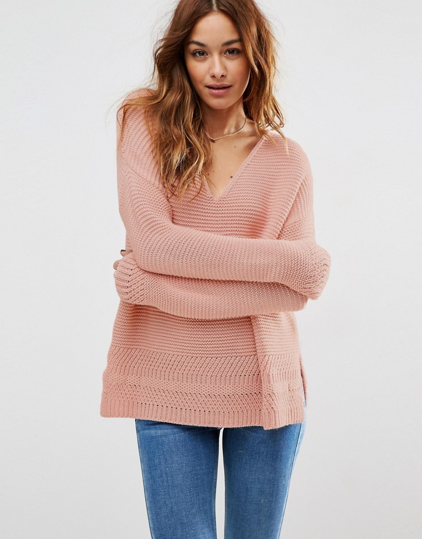 Ultimate Chunky V Neck Jumper With Stitch Detail Pink - neckline: low v-neck; pattern: plain; length: below the bottom; style: standard; predominant colour: pink; occasions: casual, creative work; fibres: cotton - mix; fit: standard fit; sleeve length: long sleeve; sleeve style: standard; texture group: knits/crochet; pattern type: knitted - big stitch; season: s/s 2016; wardrobe: highlight