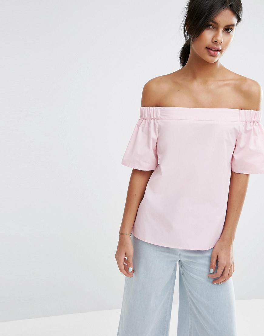 Off The Shoulder Top In Cotton Pink - neckline: off the shoulder; pattern: plain; predominant colour: blush; occasions: casual; length: standard; style: top; fibres: cotton - 100%; fit: body skimming; sleeve length: short sleeve; sleeve style: standard; pattern type: fabric; texture group: jersey - stretchy/drapey; season: s/s 2016; wardrobe: highlight