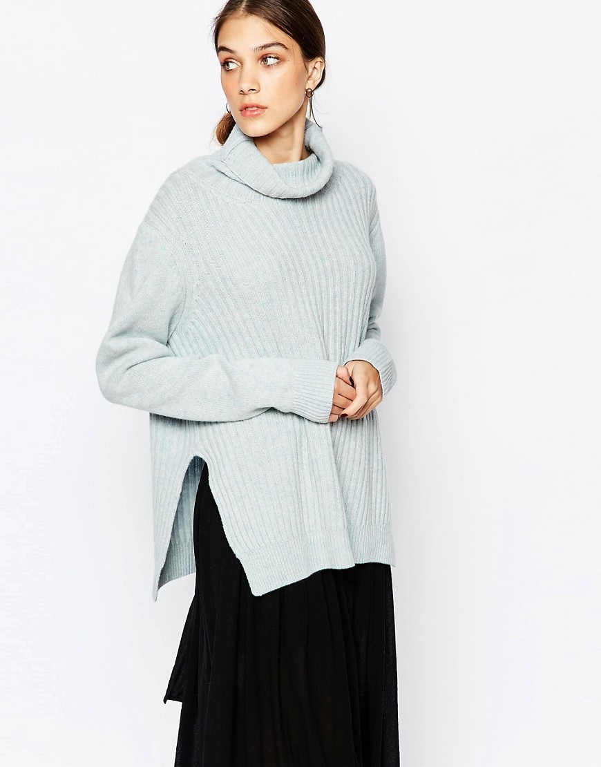 Oversized Roll Neck Jumper In Pale Blue Blue 603 - pattern: plain; length: below the bottom; neckline: roll neck; style: standard; predominant colour: light grey; occasions: casual, creative work; fibres: wool - mix; fit: standard fit; sleeve length: long sleeve; sleeve style: standard; texture group: knits/crochet; pattern type: knitted - fine stitch; season: s/s 2016; wardrobe: basic