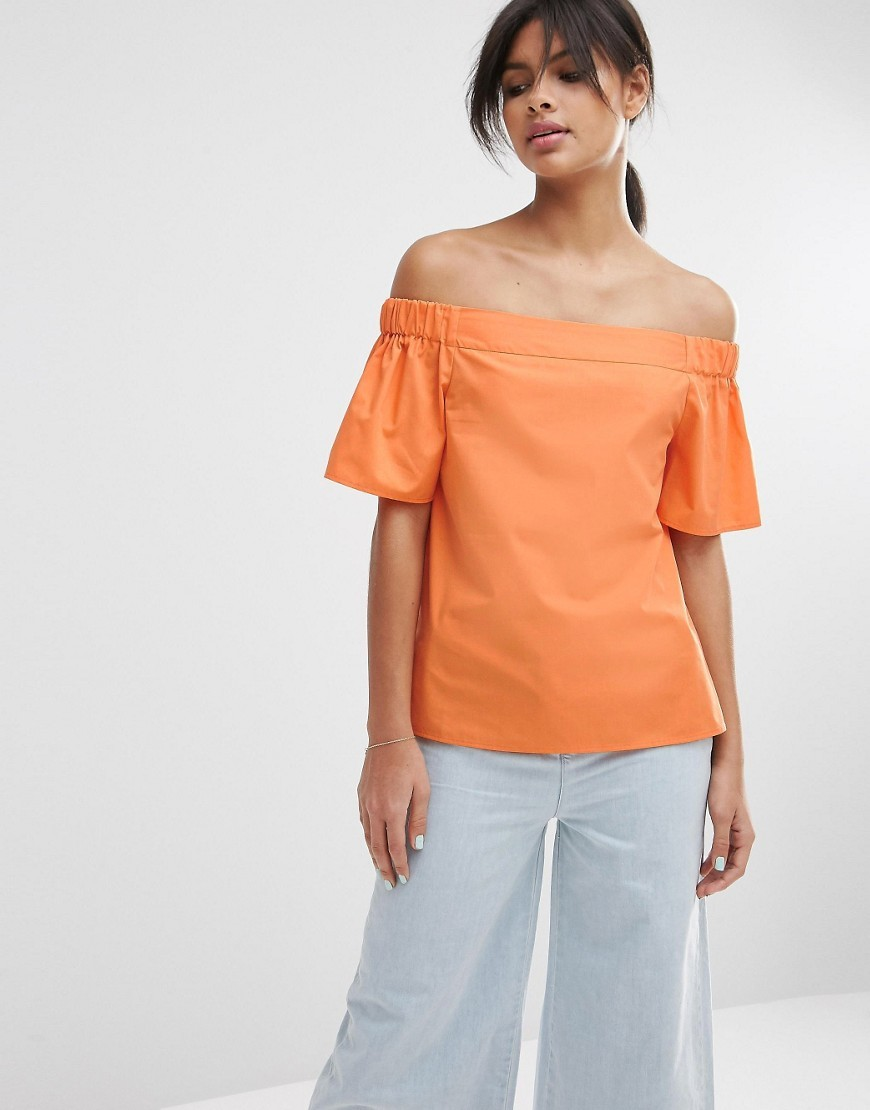Off The Shoulder Top In Cotton Orange - neckline: off the shoulder; pattern: plain; predominant colour: bright orange; occasions: casual, creative work; length: standard; style: top; fibres: cotton - mix; fit: body skimming; sleeve length: short sleeve; sleeve style: standard; pattern type: fabric; texture group: other - light to midweight; season: s/s 2016; wardrobe: highlight