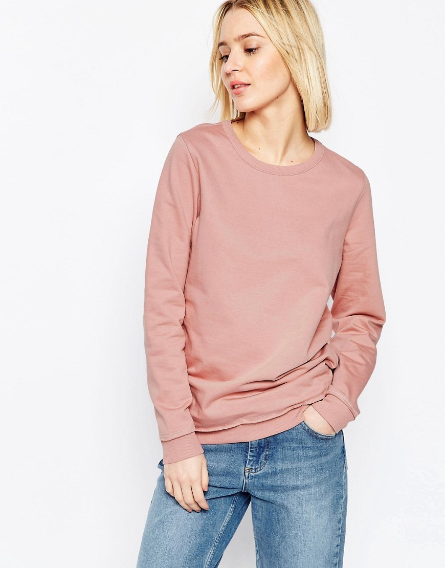 The Ultimate Boyfriend Sweat Blush - pattern: plain; style: sweat top; predominant colour: pink; occasions: casual, creative work; length: standard; fibres: cotton - 100%; fit: body skimming; neckline: crew; sleeve length: long sleeve; sleeve style: standard; pattern type: fabric; texture group: other - light to midweight; season: s/s 2016; wardrobe: highlight