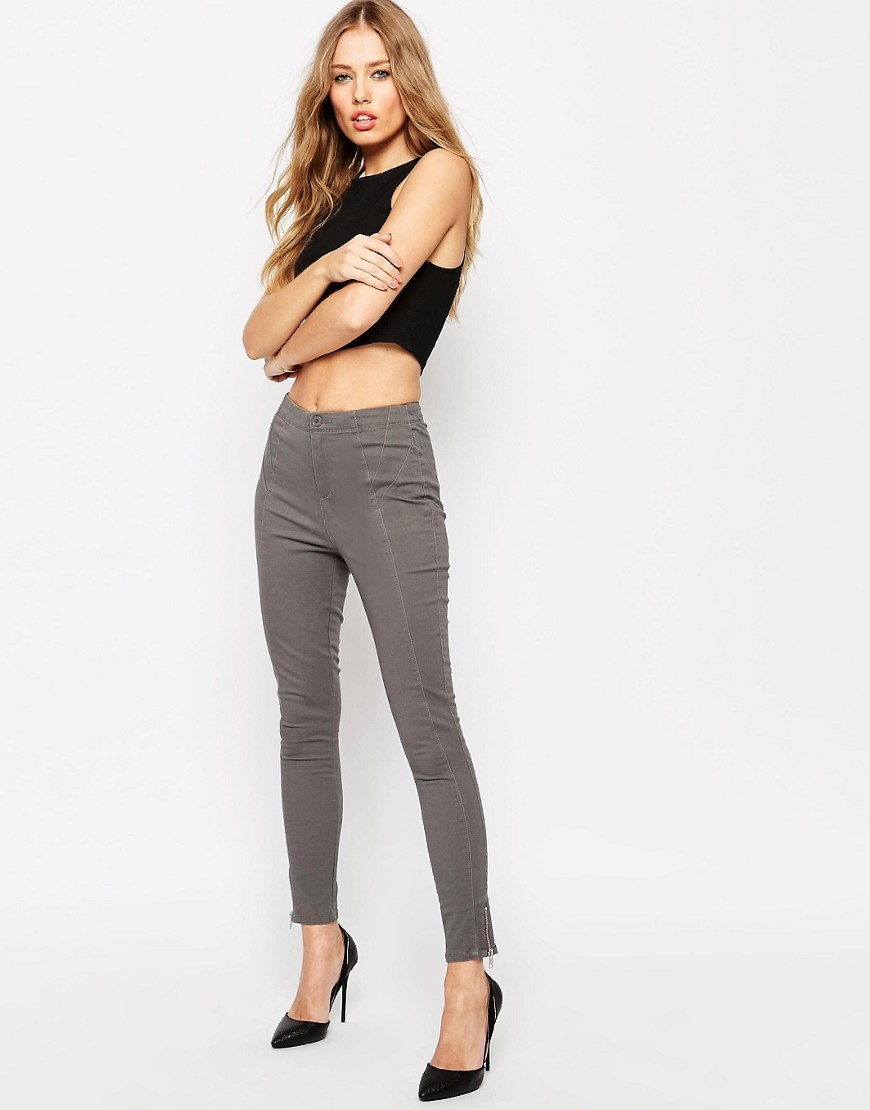 Washed Panelled Skinny With Zip Hem Washed Grey - style: skinny leg; pattern: plain; waist: high rise; predominant colour: charcoal; occasions: casual; length: ankle length; fibres: cotton - stretch; texture group: denim; pattern type: fabric; season: s/s 2016; wardrobe: highlight