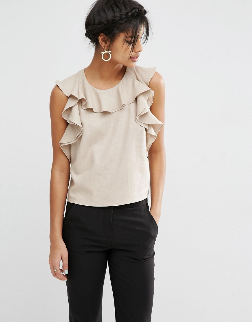 Pretty Casual Ruffle Top Stone - neckline: round neck; pattern: plain; sleeve style: sleeveless; predominant colour: stone; occasions: work, occasion; length: standard; style: top; fibres: linen - mix; fit: straight cut; sleeve length: sleeveless; texture group: linen; bust detail: bulky details at bust; pattern type: fabric; season: s/s 2016; wardrobe: highlight
