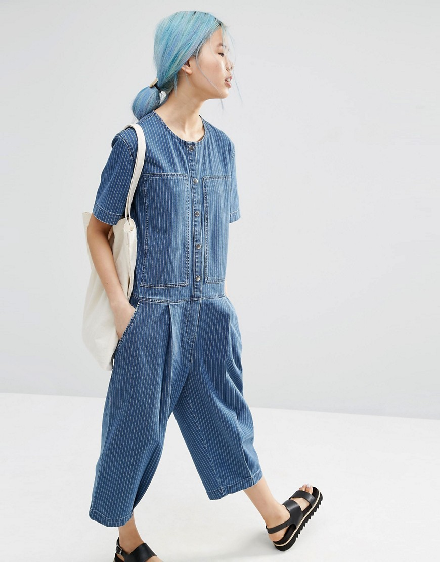 Denim Stripe Relaxed Jumpsuit Blue - neckline: round neck; fit: loose; pattern: plain; predominant colour: denim; occasions: casual; length: calf length; fibres: cotton - stretch; sleeve length: short sleeve; sleeve style: standard; texture group: denim; style: jumpsuit; bust detail: bulky details at bust; pattern type: fabric; season: s/s 2016; wardrobe: highlight