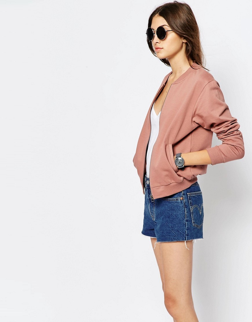 The Bomber Jacket In Jersey Fawn - pattern: plain; collar: round collar/collarless; style: bomber; predominant colour: pink; occasions: casual, creative work; length: standard; fit: straight cut (boxy); fibres: cotton - mix; sleeve length: long sleeve; sleeve style: standard; texture group: cotton feel fabrics; collar break: high; pattern type: fabric; season: s/s 2016