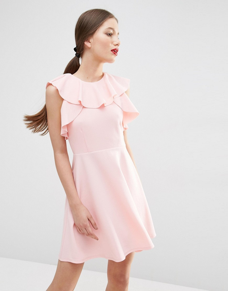 Skater Dress With Ruffle Neck Pink - length: mid thigh; pattern: plain; sleeve style: sleeveless; predominant colour: blush; occasions: casual; fit: fitted at waist & bust; style: fit & flare; fibres: polyester/polyamide - 100%; neckline: crew; sleeve length: sleeveless; texture group: crepes; pattern type: fabric; season: s/s 2016