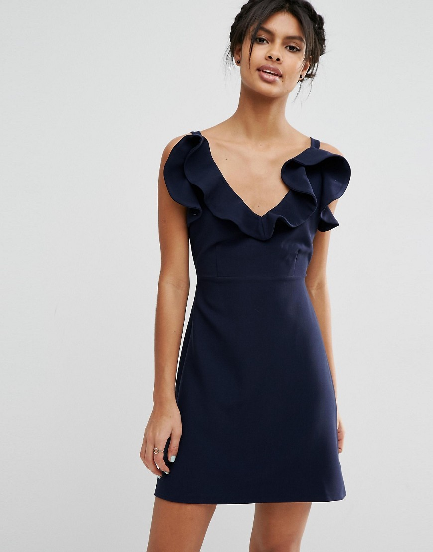 Structured Frill A Line Mini Dress Navy - style: shift; length: mid thigh; neckline: low v-neck; pattern: plain; sleeve style: sleeveless; predominant colour: navy; occasions: evening; fit: soft a-line; fibres: polyester/polyamide - stretch; shoulder detail: bulky shoulder detail; sleeve length: sleeveless; pattern type: fabric; texture group: woven light midweight; season: s/s 2016; wardrobe: event