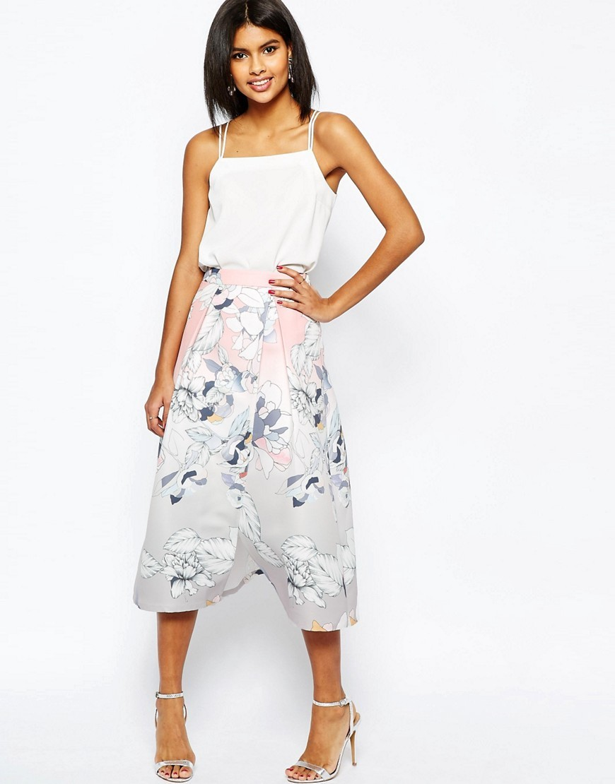 Wrap Prom Midi Skirt In Floral Print Multi - length: calf length; fit: loose/voluminous; waist: high rise; secondary colour: white; predominant colour: light grey; style: a-line; fibres: polyester/polyamide - 100%; occasions: occasion, creative work; waist detail: narrow waistband; pattern type: fabric; pattern: florals; texture group: woven light midweight; pattern size: big & busy (bottom); multicoloured: multicoloured; season: s/s 2016
