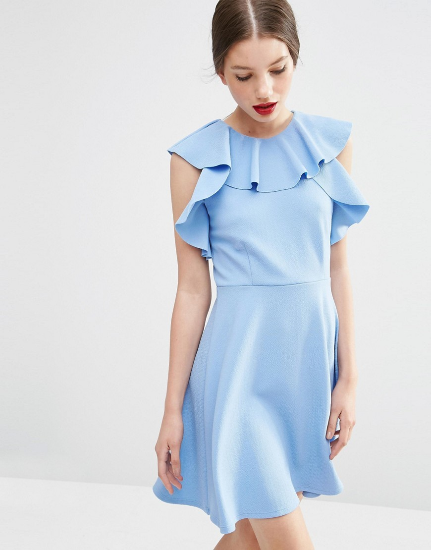 Skater Dress With Ruffle Neck Blue - length: mid thigh; pattern: plain; sleeve style: sleeveless; waist detail: fitted waist; predominant colour: pale blue; occasions: evening, occasion, creative work; fit: fitted at waist & bust; style: fit & flare; fibres: polyester/polyamide - 100%; neckline: crew; hip detail: subtle/flattering hip detail; sleeve length: sleeveless; texture group: crepes; pattern type: fabric; season: s/s 2016; wardrobe: highlight