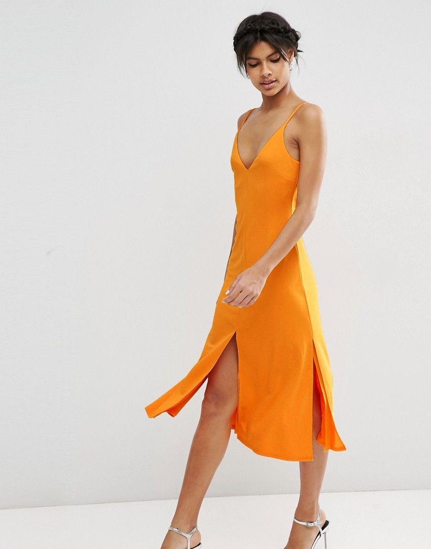 Cami Front Midi Slip Dress Orange - length: calf length; neckline: low v-neck; sleeve style: spaghetti straps; pattern: plain; predominant colour: bright orange; fit: body skimming; style: slip dress; occasions: occasion; sleeve length: sleeveless; pattern type: fabric; texture group: jersey - stretchy/drapey; fibres: nylon - stretch; season: s/s 2016; wardrobe: event