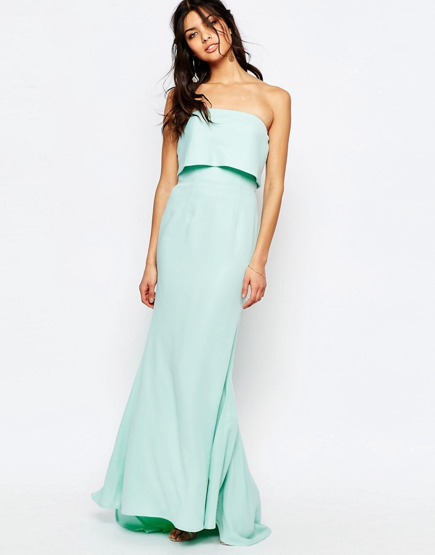 Blaze Bandeau Maxi Dress With Overlay Mint - neckline: strapless (straight/sweetheart); pattern: plain; style: maxi dress; sleeve style: strapless; predominant colour: mint green; length: floor length; fit: soft a-line; fibres: polyester/polyamide - 100%; occasions: occasion; hip detail: subtle/flattering hip detail; sleeve length: sleeveless; pattern type: fabric; texture group: other - light to midweight; season: s/s 2016; wardrobe: event