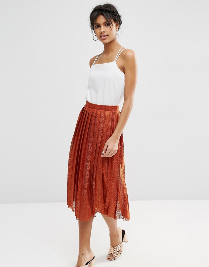 Pleated Lace Midi Skirt Rust - length: calf length; fit: loose/voluminous; style: pleated; waist: high rise; predominant colour: terracotta; fibres: polyester/polyamide - stretch; occasions: occasion, creative work; texture group: lace; pattern type: fabric; pattern: patterned/print; embellishment: lace; season: s/s 2016; wardrobe: highlight