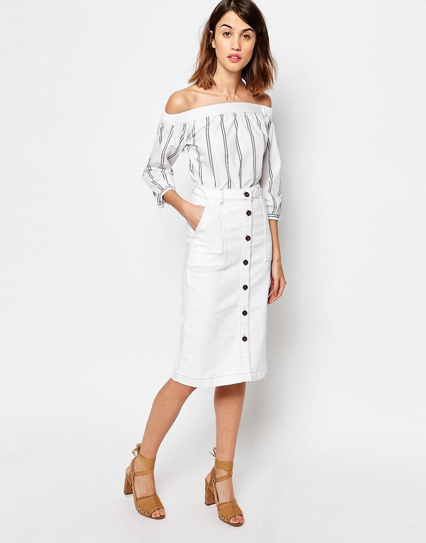 Button Detail Midi Skirt Cream - length: below the knee; pattern: plain; style: pencil; fit: body skimming; waist: high rise; predominant colour: ivory/cream; occasions: casual; fibres: cotton - stretch; trends: monochrome; pattern type: fabric; texture group: other - light to midweight; season: s/s 2016