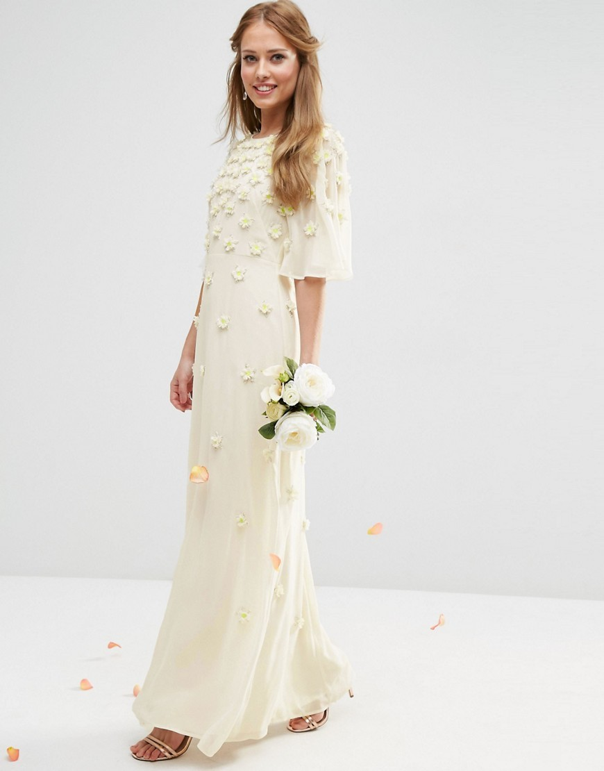 Bridal Scattered 3 D Floral Flutter Sleeve Maxi Dress White - pattern: plain; style: maxi dress; predominant colour: ivory/cream; length: floor length; fit: soft a-line; fibres: polyester/polyamide - 100%; occasions: occasion; neckline: crew; sleeve length: 3/4 length; sleeve style: standard; texture group: crepes; pattern type: fabric; embellishment: applique; season: s/s 2016; wardrobe: event; embellishment location: skirt, sleeve/cuff, top