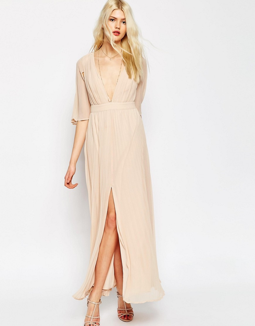 Pleated Flutter Sleeve Maxi Dress Nude - neckline: plunge; pattern: plain; style: maxi dress; length: ankle length; hip detail: draws attention to hips; predominant colour: nude; fit: body skimming; fibres: polyester/polyamide - 100%; occasions: occasion; sleeve length: half sleeve; sleeve style: standard; texture group: crepes; pattern type: fabric; season: s/s 2016; wardrobe: event