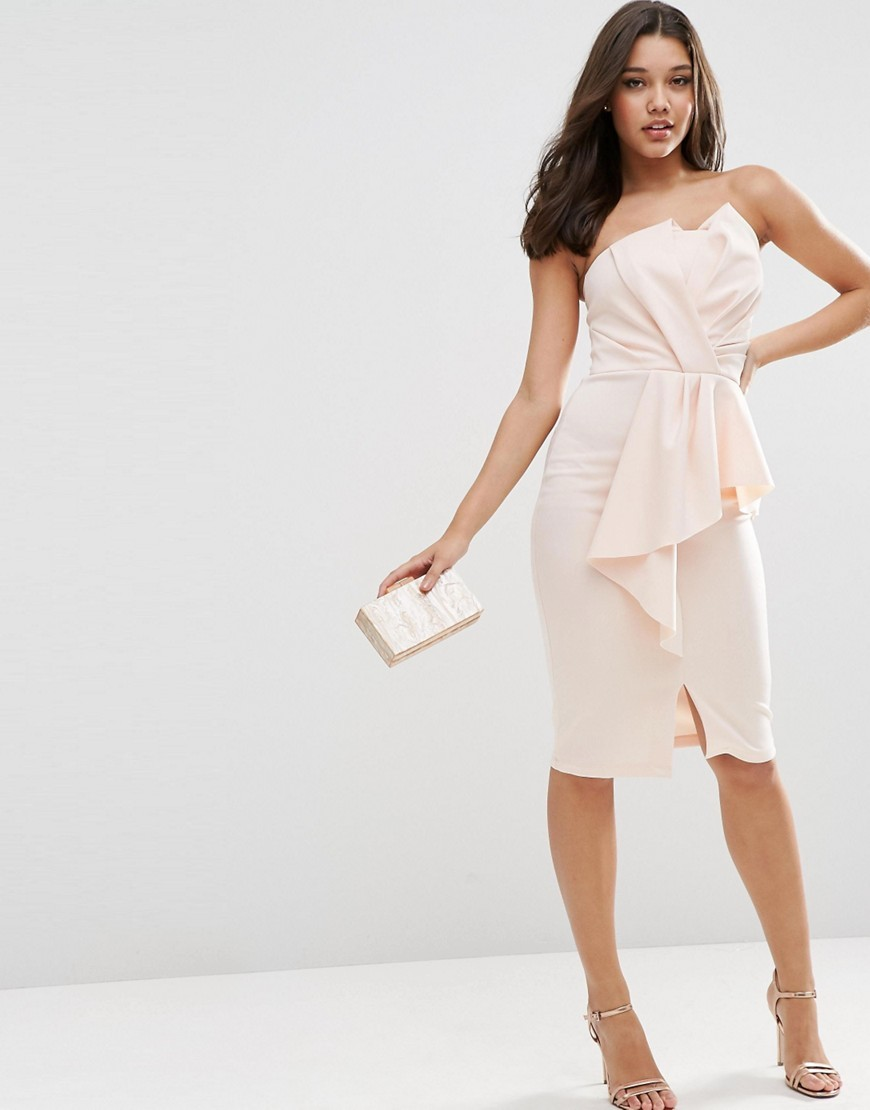 Scuba Bandeau Midi Dress With Heavy Fold Peplum Blush - style: shift; neckline: strapless (straight/sweetheart); fit: tailored/fitted; pattern: plain; sleeve style: sleeveless; predominant colour: blush; length: on the knee; fibres: polyester/polyamide - stretch; occasions: occasion; sleeve length: sleeveless; pattern type: fabric; texture group: other - light to midweight; season: s/s 2016; wardrobe: event