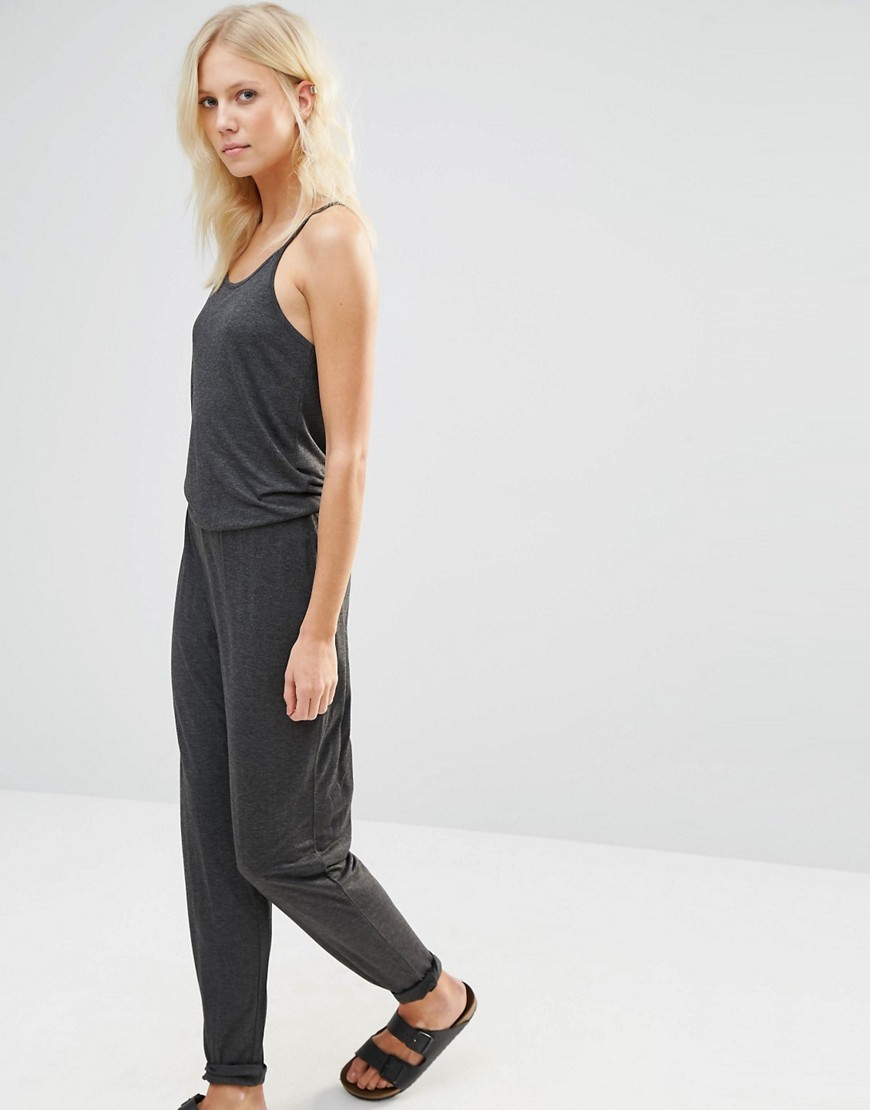Yasstay Jumpsuit Grey - length: standard; sleeve style: spaghetti straps; fit: fitted at waist; pattern: plain; predominant colour: charcoal; occasions: casual, holiday; neckline: scoop; fibres: viscose/rayon - 100%; sleeve length: sleeveless; style: jumpsuit; pattern type: fabric; texture group: jersey - stretchy/drapey; season: s/s 2016; wardrobe: holiday